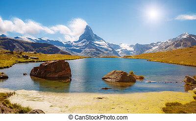 alpes, stellisee, matterhorn., panorama, suisse, pic, grand, emplacement, endroit, célèbre, europe.