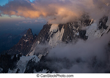alpes, tôt, lumière, matin