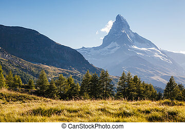alpes, world., matterhorn., panorama, endroit, suisse, pic, grand, grindjisee, emplacement, beauté, célèbre, europe.