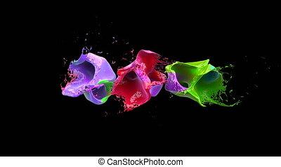 alpha, 422, pro, coloré, sur, liquidsd, noir, slowmotion., eclabousse, fond, codec, res, explose, canal