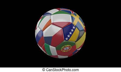 alpha, 4k, football, europe, transparent, métrage, boucle, tourner, balle, drapeaux