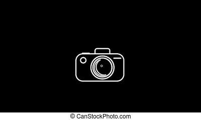 alpha, appareil photo, mince, canal, icône