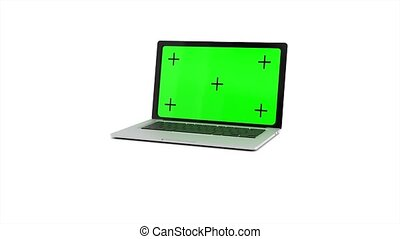 alpha, arrière-plan., animation, vert, ordinateur portable, channel., écran, rendre, 4k, blanc, ouvre, moderne, 3d