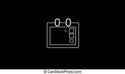 alpha, calendrier, mince, canal, icône