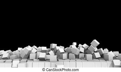 alpha, cubes, channel., fond, 3d, blanc, sur, mur, hd., illustration., écroulant