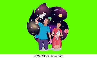 alpha, espace, faire boucle, astronautes, voyage, canal, rêve, jeu, animation, enfants