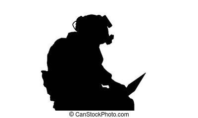 alpha, militaire, utilisation, surveillance, canal, opération, pendant, ordinateur portatif, soldat