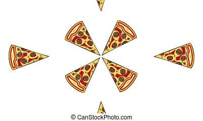 alpha, pizza, moderne, animation, canal, arrière-plan., blanc