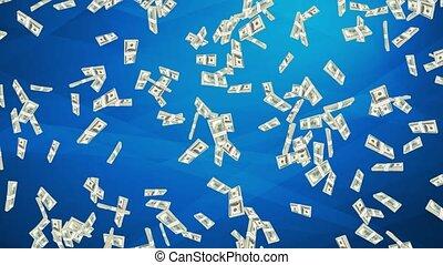 alpha, voler, 100, mask., fait boucle, animation., argent, dollar, 4k, haut, factures, pile