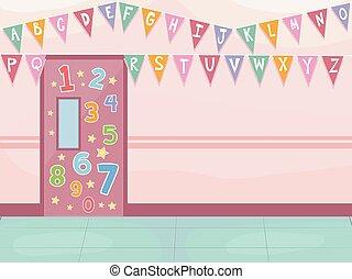 alphabet, école, décoration, couloir, nombres