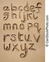 alphabet, écrit, sand.