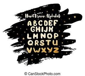 alphabet, aquarelle, arrière-plan., étoiles, anglaise, tache, manuscrit