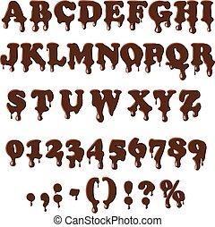 alphabet, blanc, isolé, fond, chocolat