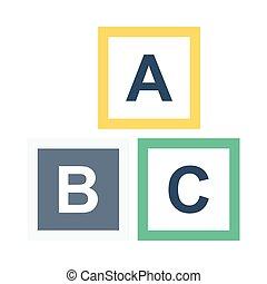 alphabet bloque, plat, icône