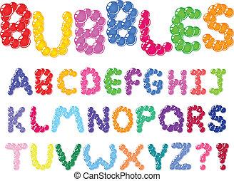alphabet, bulles