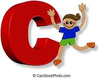 alphabet, c, garçon