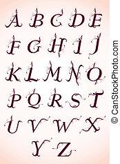 alphabet, calligraphie, ensemble