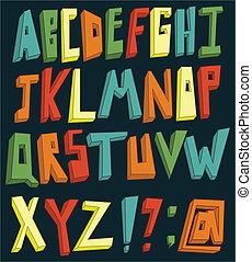 alphabet, coloré, 3d