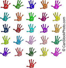 alphabet, coloré, main