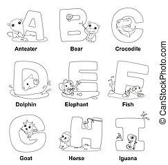 alphabet, coloration, gosses