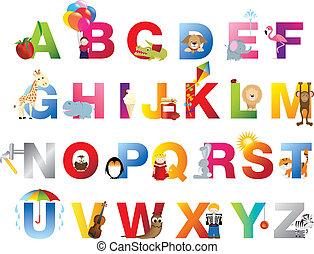 alphabet, complet, childrens