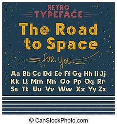 alphabet, croquis, latin, vieux, vendange, oeil caractère, style, illustration, vecteur, retro, affiche, grunge, lettres, police
