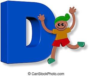 alphabet, d, garçon