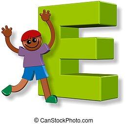 alphabet, e, garçon
