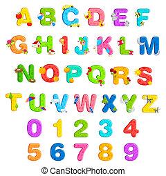 alphabet, ensemble, nombre