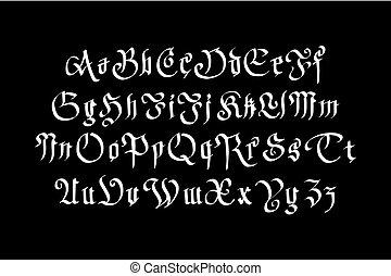 alphabet., fantasme, vendange, typographie, coutume, sombre, arrière-plan., vecteur, gothique, retro, font., lettres, type, stockage