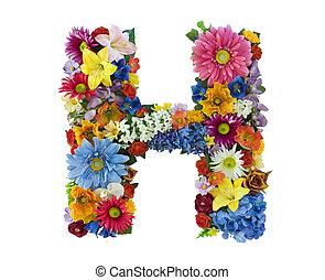 alphabet, fleur, -, h