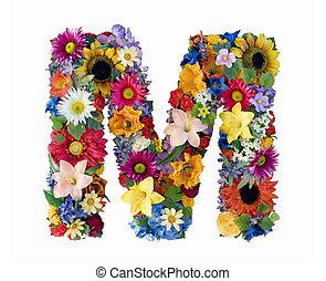 alphabet, fleur, -, m