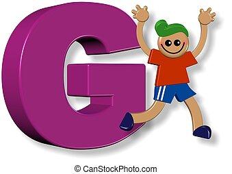 alphabet, g, garçon