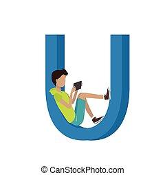 alphabet., gadget, -, u, lettre