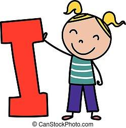alphabet, gosse, lettre, dessin animé