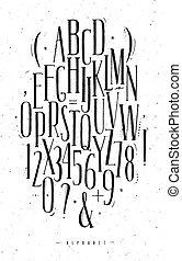 alphabet, gothique, police