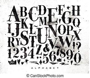 alphabet, gothique, vendange