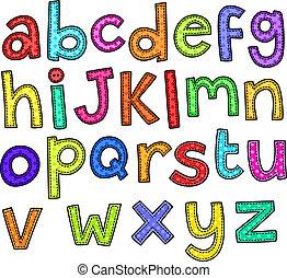 alphabet, griffonnage, texte