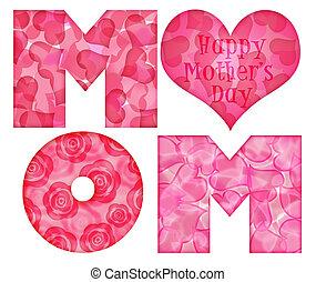 alphabet, heureux, jour, maman, mère