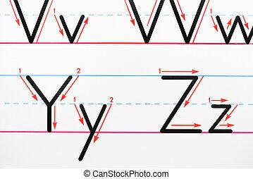 alphabet, homework.