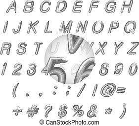 alphabet, illustration, calligraphic, aquarelle, vecteur, noir
