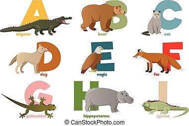 alphabet, image, vecteur, animaux