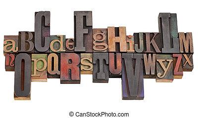 alphabet, impression bloque, letterpress