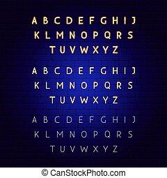 alphabet, incandescent, néon