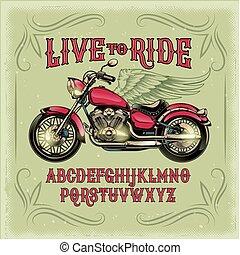 alphabet latin, illustration, coutume, vecteur, police, retro, vendange, rouges, motocyclette