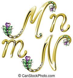 alphabet, lettres, bijouterie, or, m