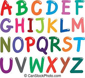 alphabet, lettres, coloré, capital