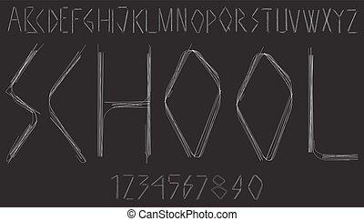 alphabet, lettres, nombres, manuscrit