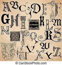 alphabet, -, main, élevé, vecteur, vendange, dessiné, qualité