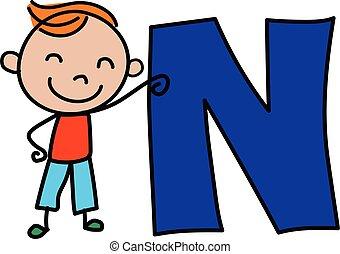 alphabet, n, gosse, dessin animé, lettre